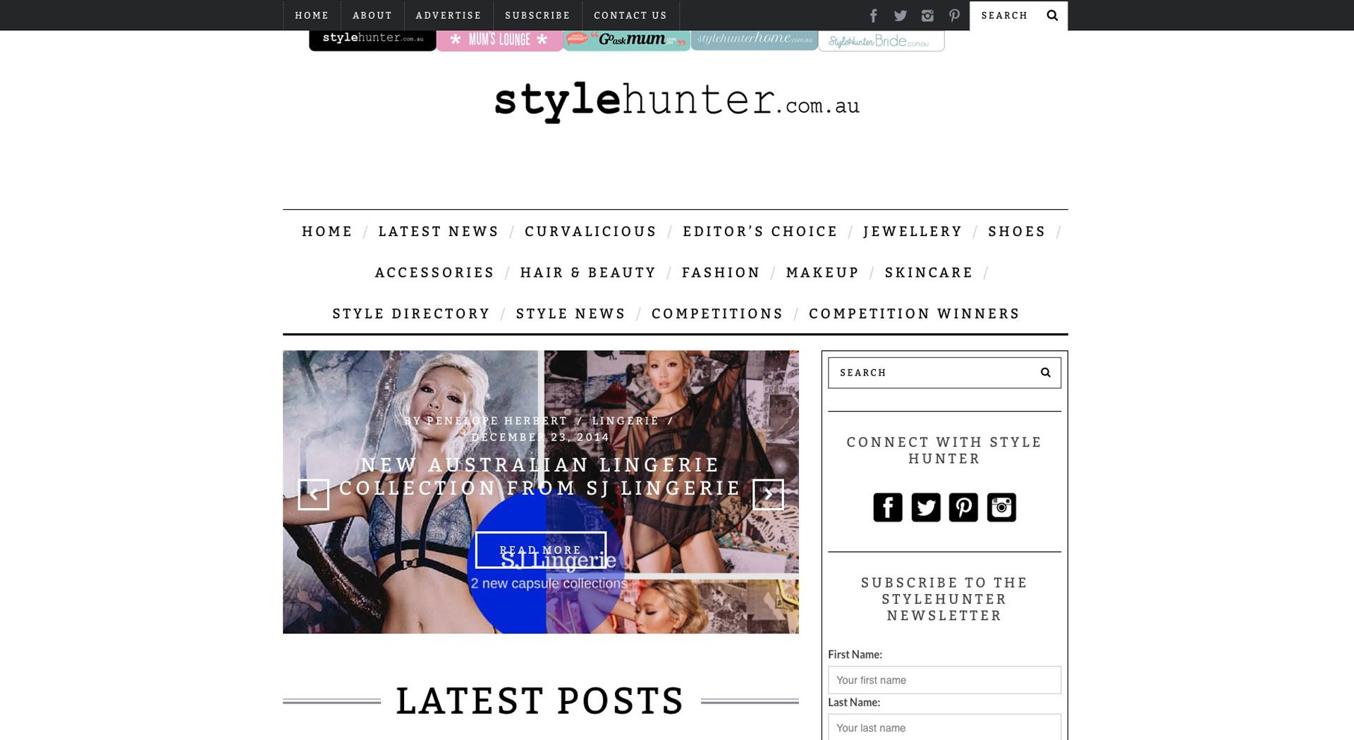 StyleHunter Homepage Website Australia