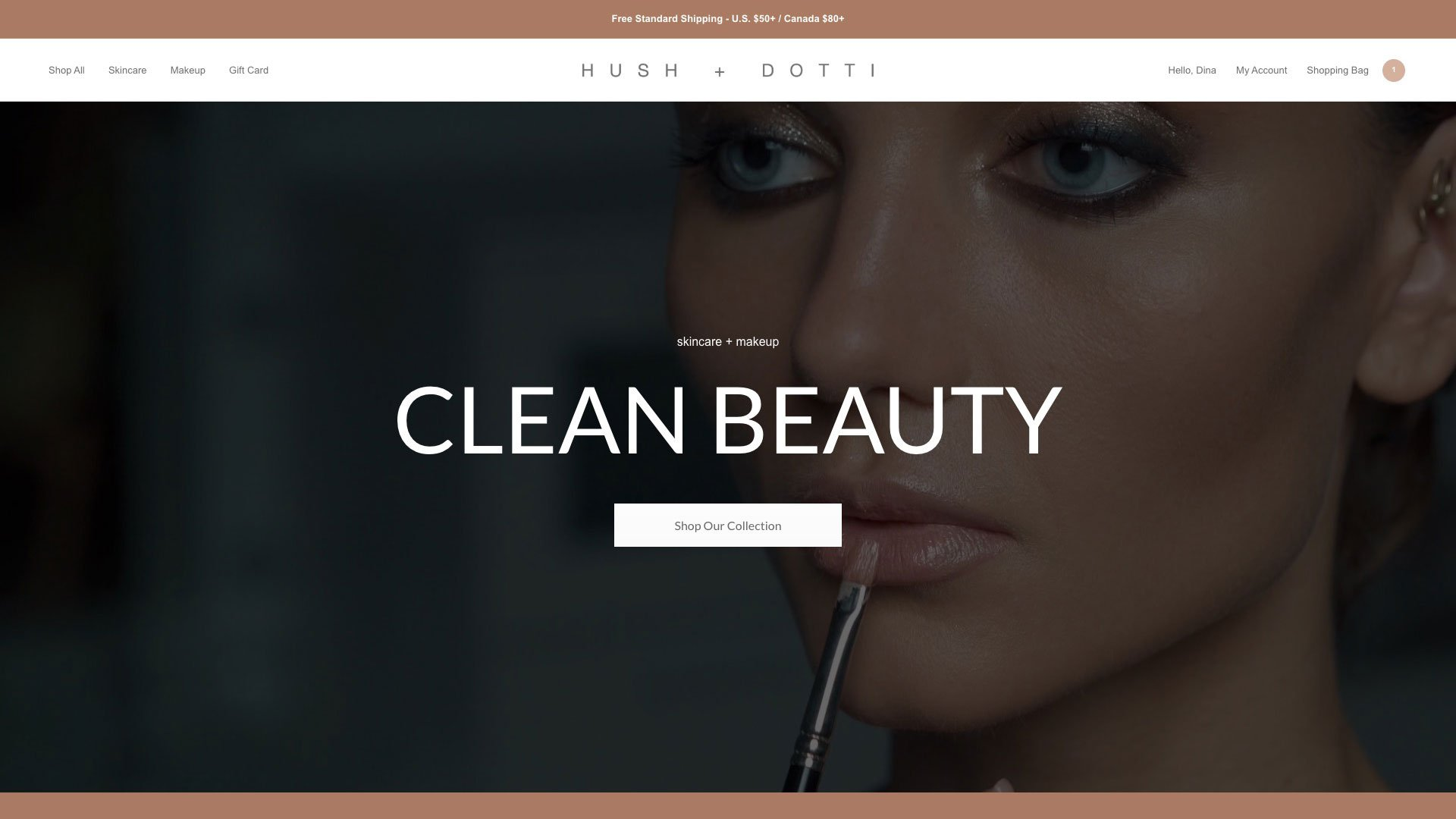Hush + Dotti Website Main Page